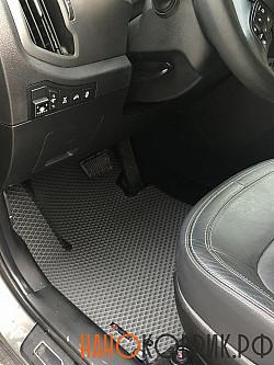 Серый автомобильный коврик с черным кантом